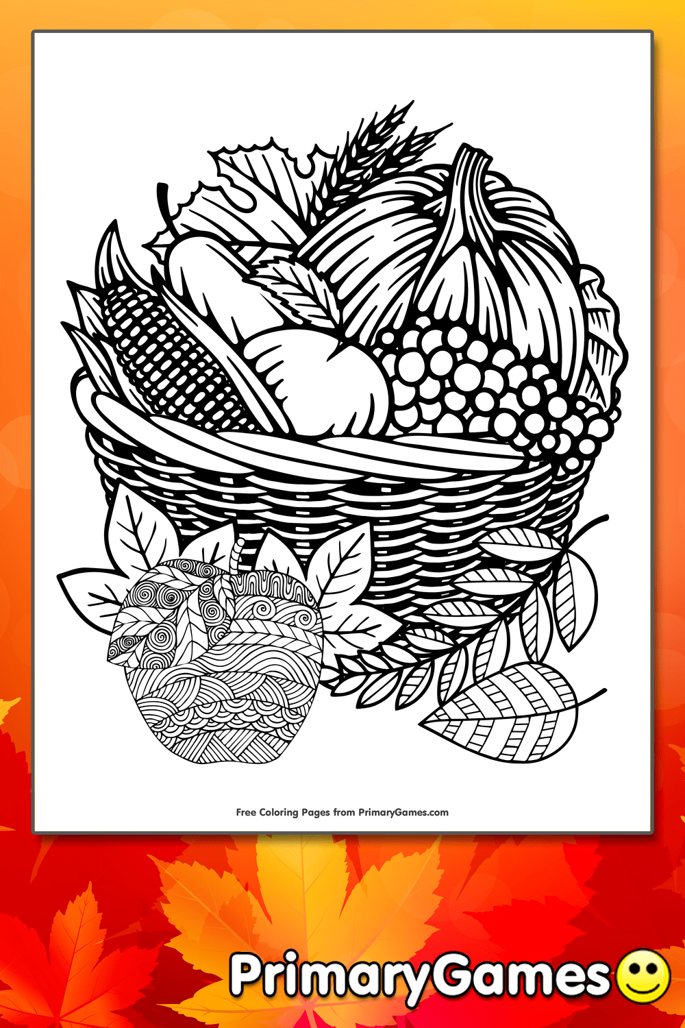Zentangle Apples In Basket Coloring Page Printable Fall