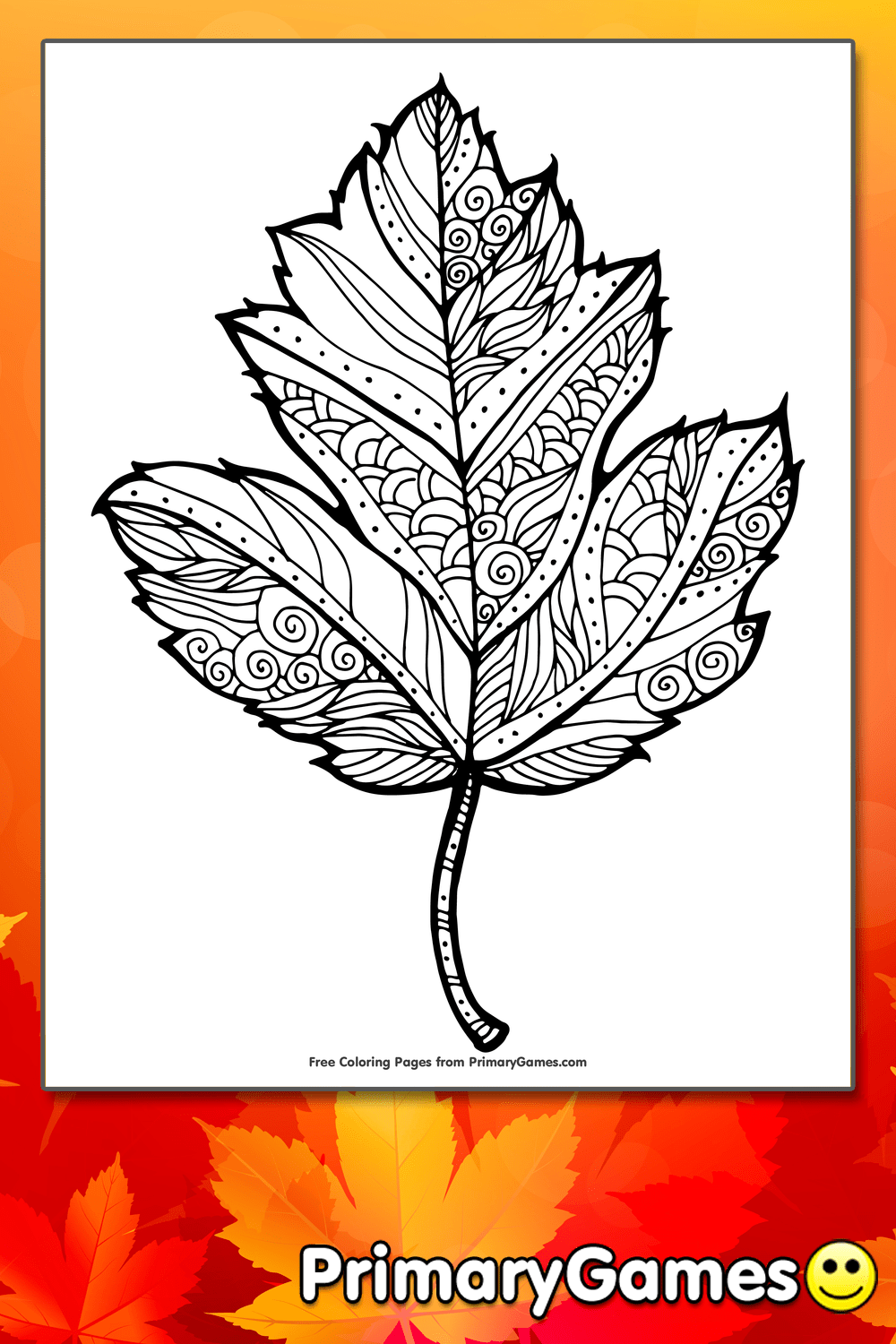 fall coloring page maple leaf primarygames play free online games