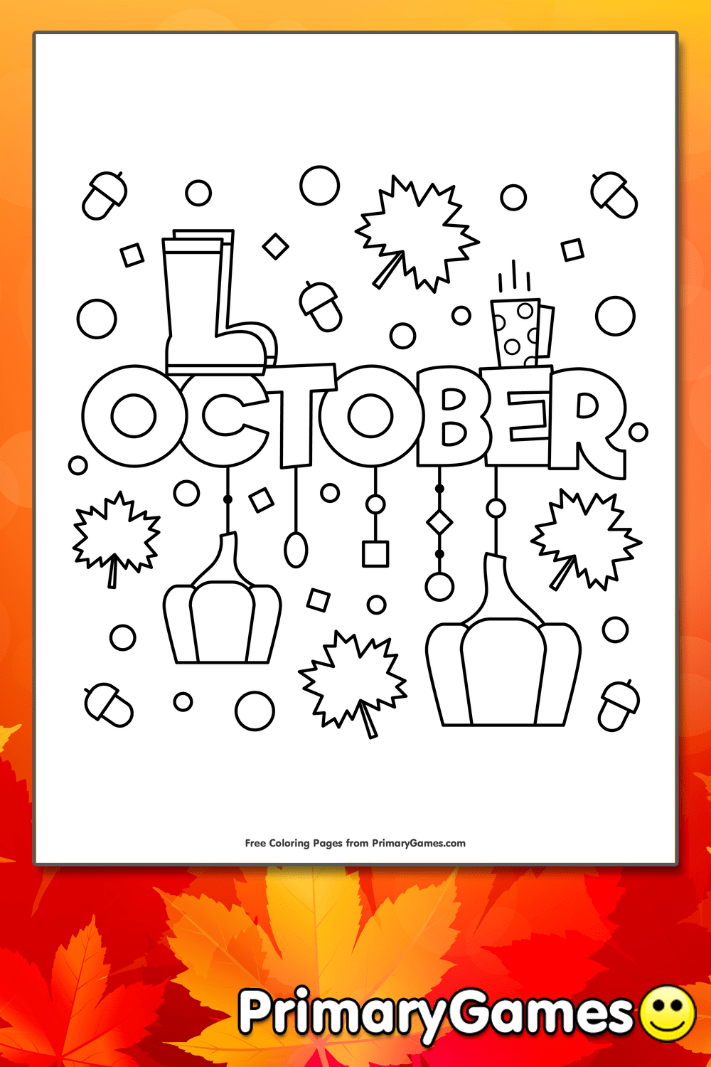 October Coloring Page Printable Fall Coloring EBook