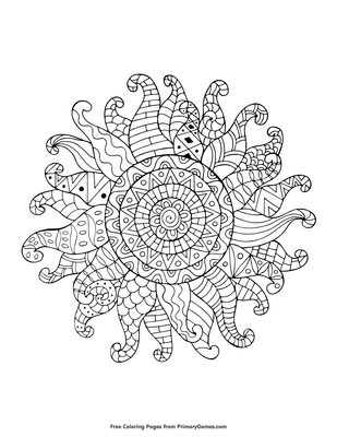 Zentangle Sun Coloring Page Free Printable Pdf From Primarygames