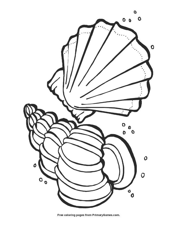 Seashells Coloring Page Free Printable Pdf From Primarygames