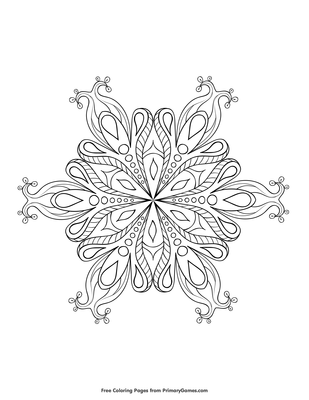 Snowflake Coloring Page Free Printable Pdf From Primarygames