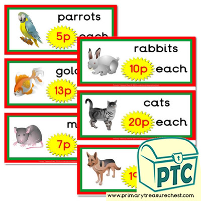 Pet Shop Role Play Prices Flashcards 1 20p Primary