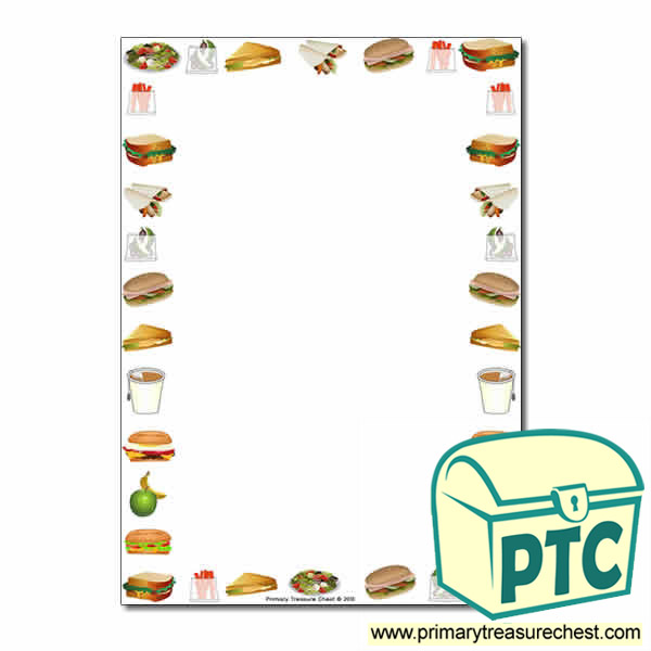 Sandwich Shop Themed Page BorderWriting Frame No Lines