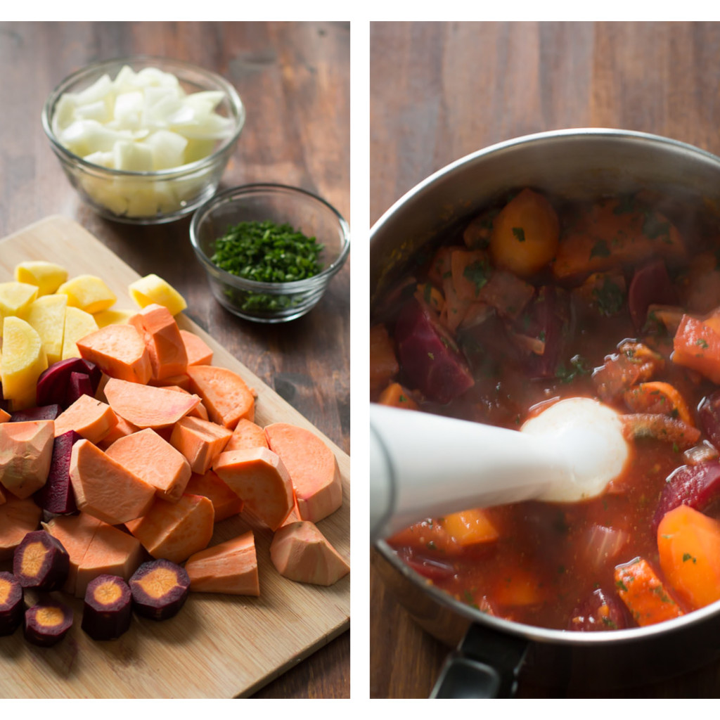 Beet Sweet Potato Soup Ingredients Chopped and Blended: sweet potatoes, onions, carrots, beets