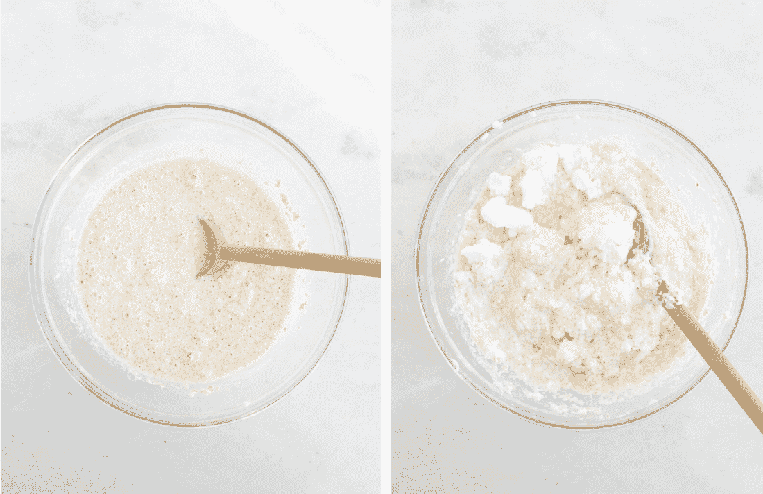 Set of two photos of wet ingredients for waffle batter mixed with dry and then egg whites folded in.