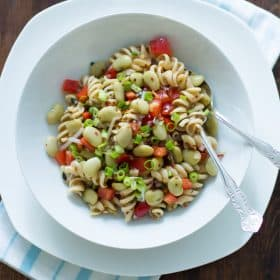 pasta salad with lima bean and anchovies