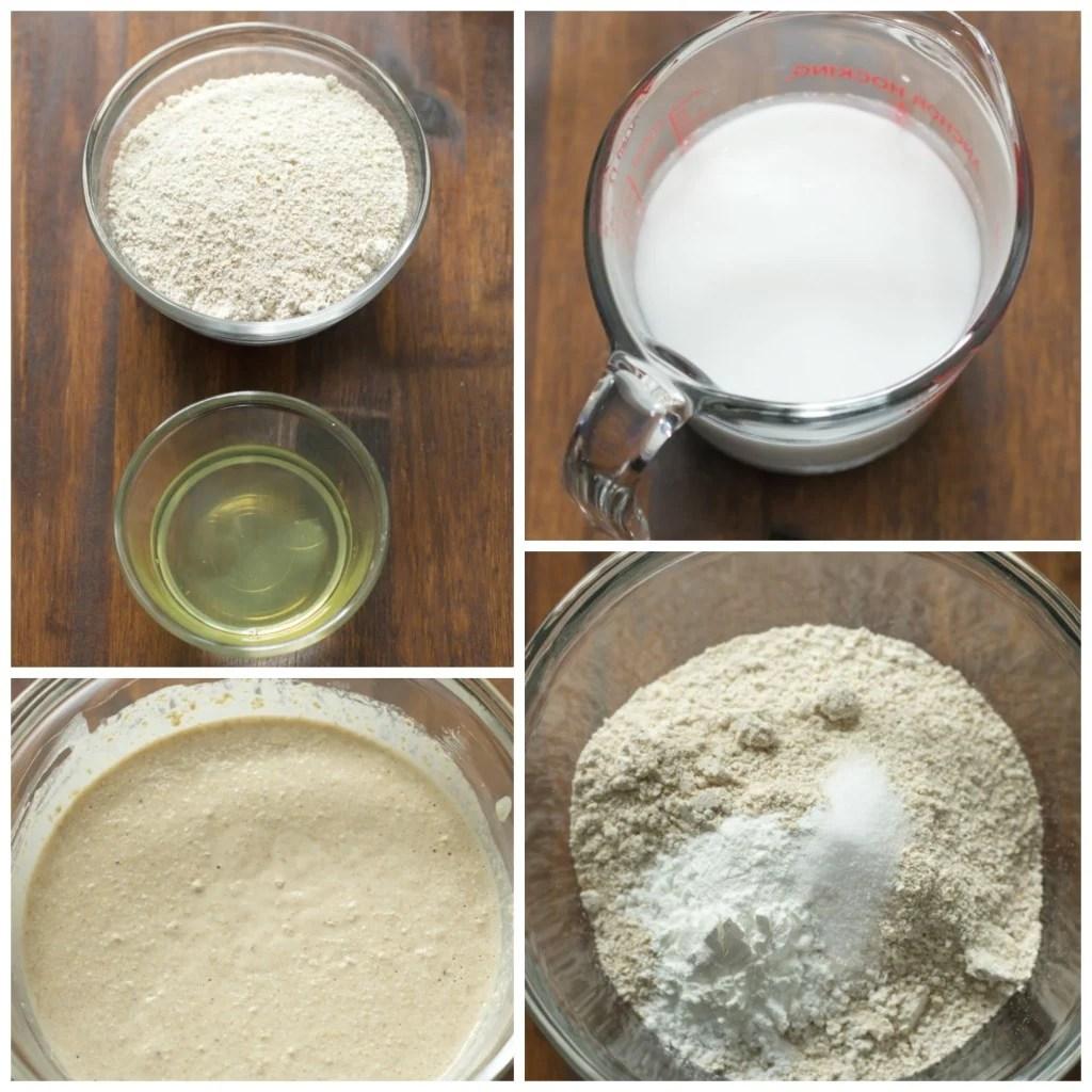 Instructions for peanut waffles showing gluten-free oatmeal flour, baking powder, salt, organic peanut butter, coconut milk, combined together