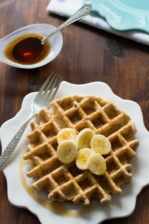gluten-free waffles made with peanut butter