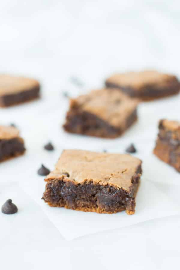Flourless Chocolate Chip Brownies on parchment