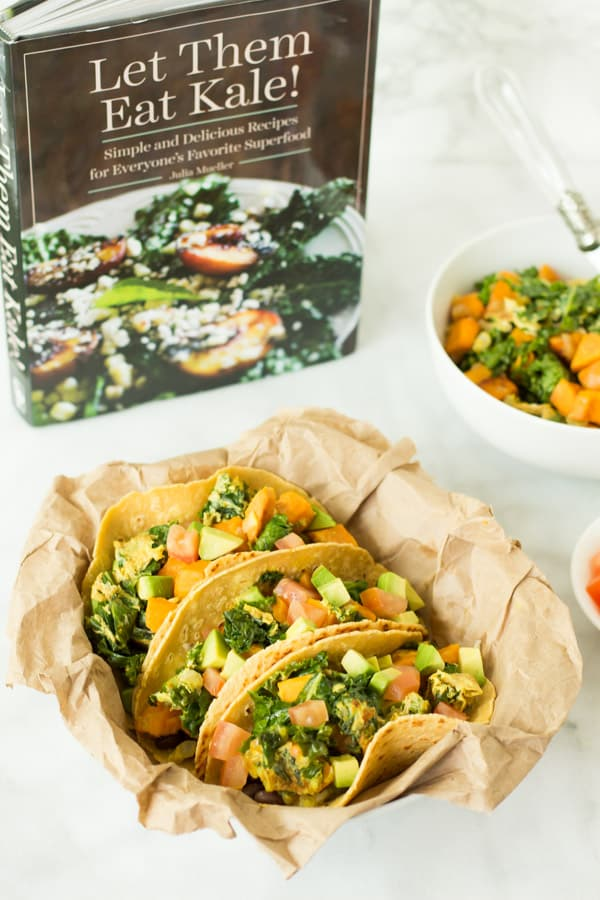 Superfood Breakfast Tacos with Let Them Eat Kale cookbook in background