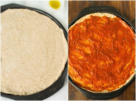 step by step photos: rolling out pizza dough and saucing pizza dough