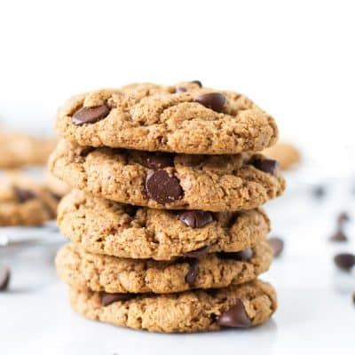 five gluten-free chocolate chip cookies stacked on top of each other