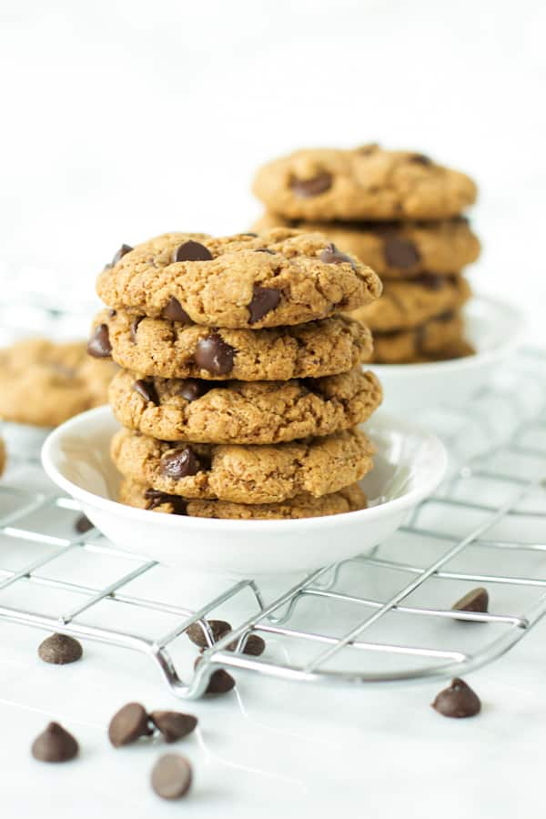 Gluten-free chocolate chip cookies on a plate