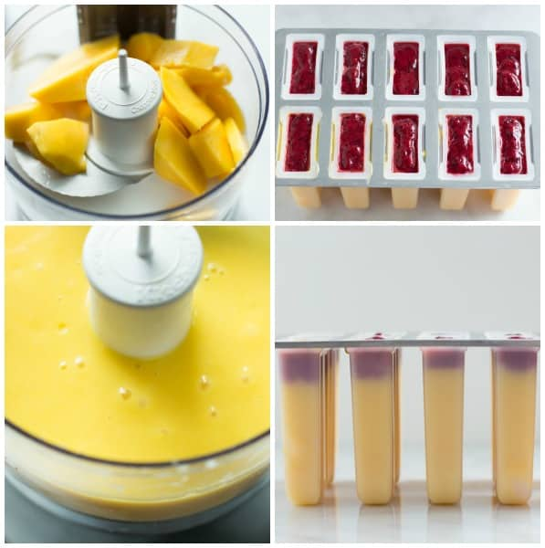 how to make Mango Plum Popsicle - blending the mangos, adding them to popsicle mold, and freezing