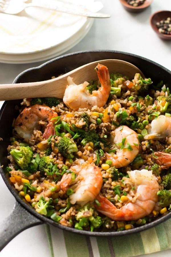 Shrimp fried rice with broccoli-5