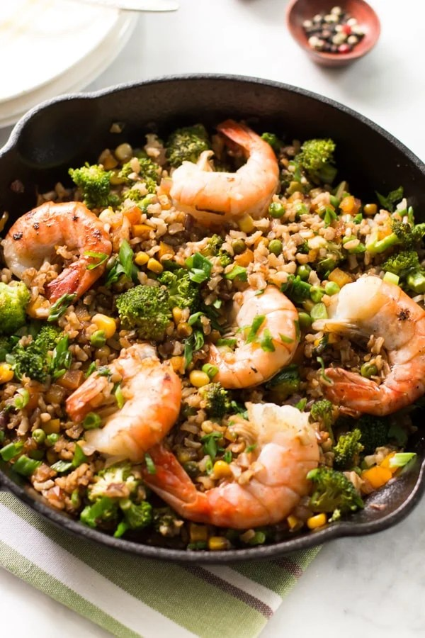 close up of shrimp fried rice with broccoli