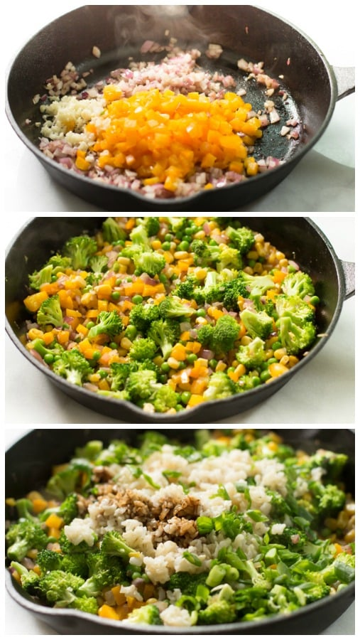 instructional step by step photos of how to cook shrimp fried rice with broccoli in a cast iron pan