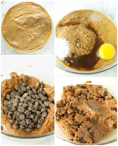 instructional photo showing how to combine ingredients to make Gluten-Free Chocolate Chip Cookies