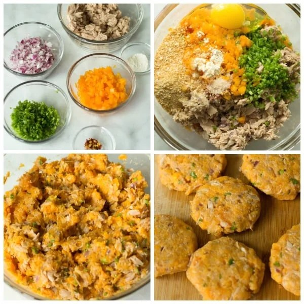 step by step photos on how to make sweet potato tuna patties, combining ingredients and mixing it together before shaping into patties