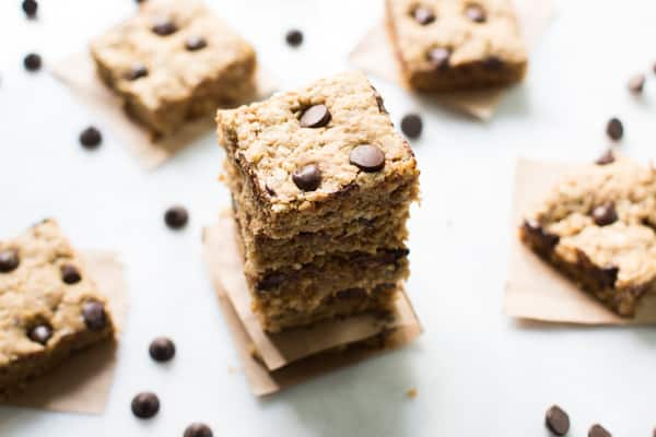 Peanut Butter Chocolate Chip Bars stacked