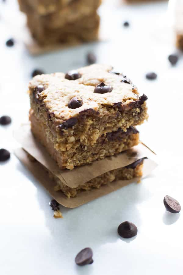Close up of three Peanut Butter Chocolate Chip Bars
