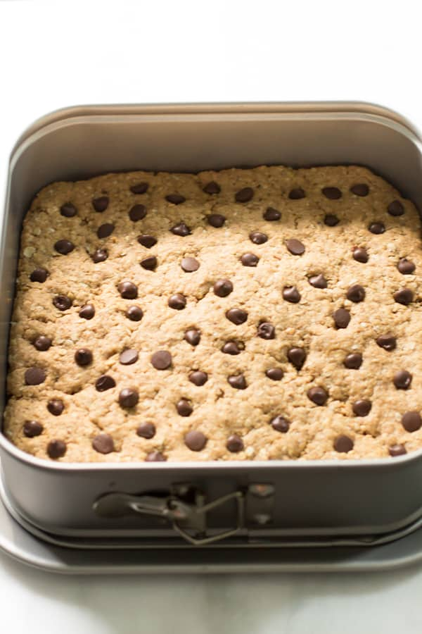 Peanut Butter Chocolate Chip Bars in a baking pan