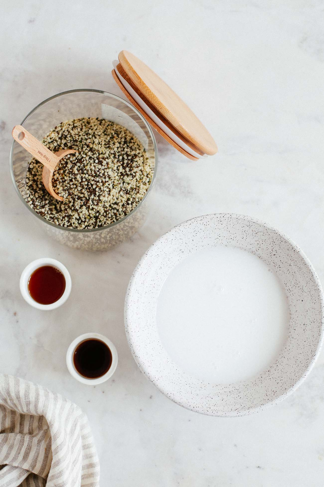 Set of two photos showing chia seeds mixed with coconut milk.