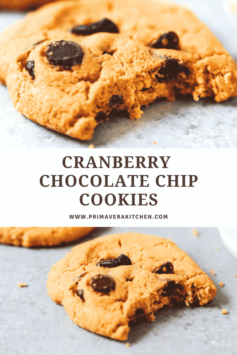 """collage of Cranberry Chocolate Chip Cookies photos with a text that says \""""Cranberry Chocolate Chip Cookies\"""""""