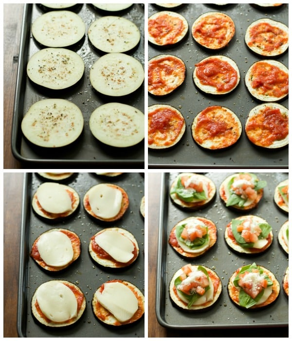 step by step instructional photos of how to layer Eggplant Pizza Bites Recipe