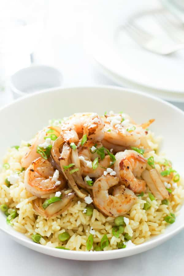Rice with Balsamic Onions and Shrimp in a white bowl
