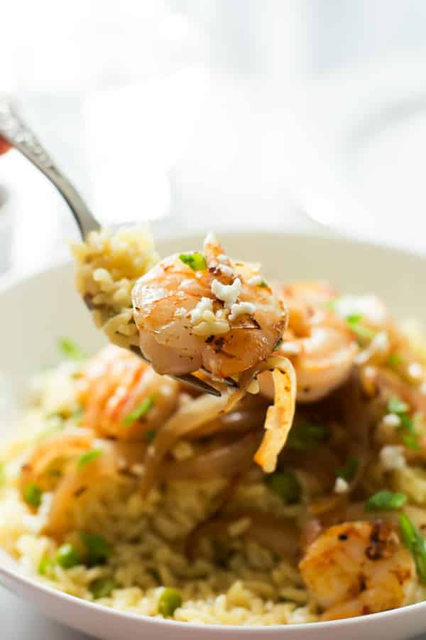 Rice with Balsamic Onions and Shrimp close up in a fork