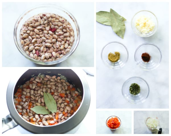 instruction photo of ingredients for beans going into a pressure cooker