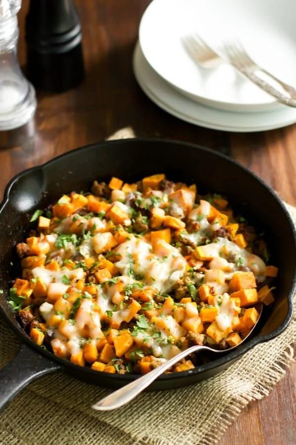 Ground Turkey Sweet Potato Skillet Healthy Dinner Recipe via Primavera Kitchen - a delicious gluten free skillet dish