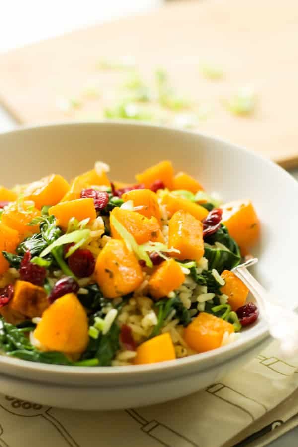 Rice with Roasted Butternut Squash and Dried Cranberries.