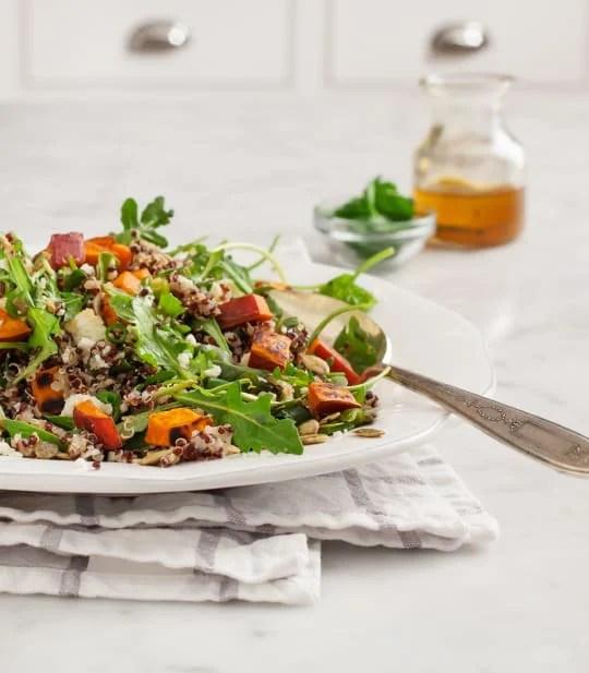 Sweet potato quinoa cotija salad.