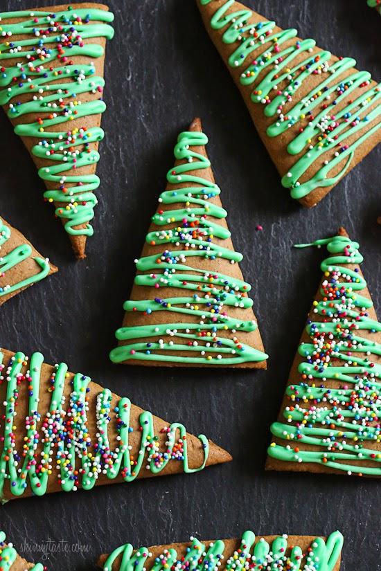 Multiple gingerbread cookie trees.