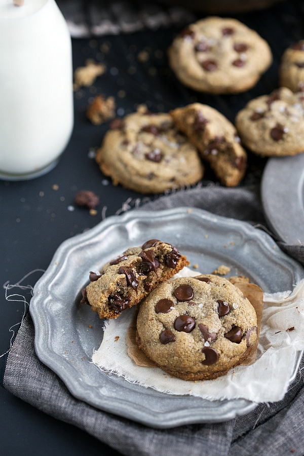 A plate of healthy cookies on a grey plate.