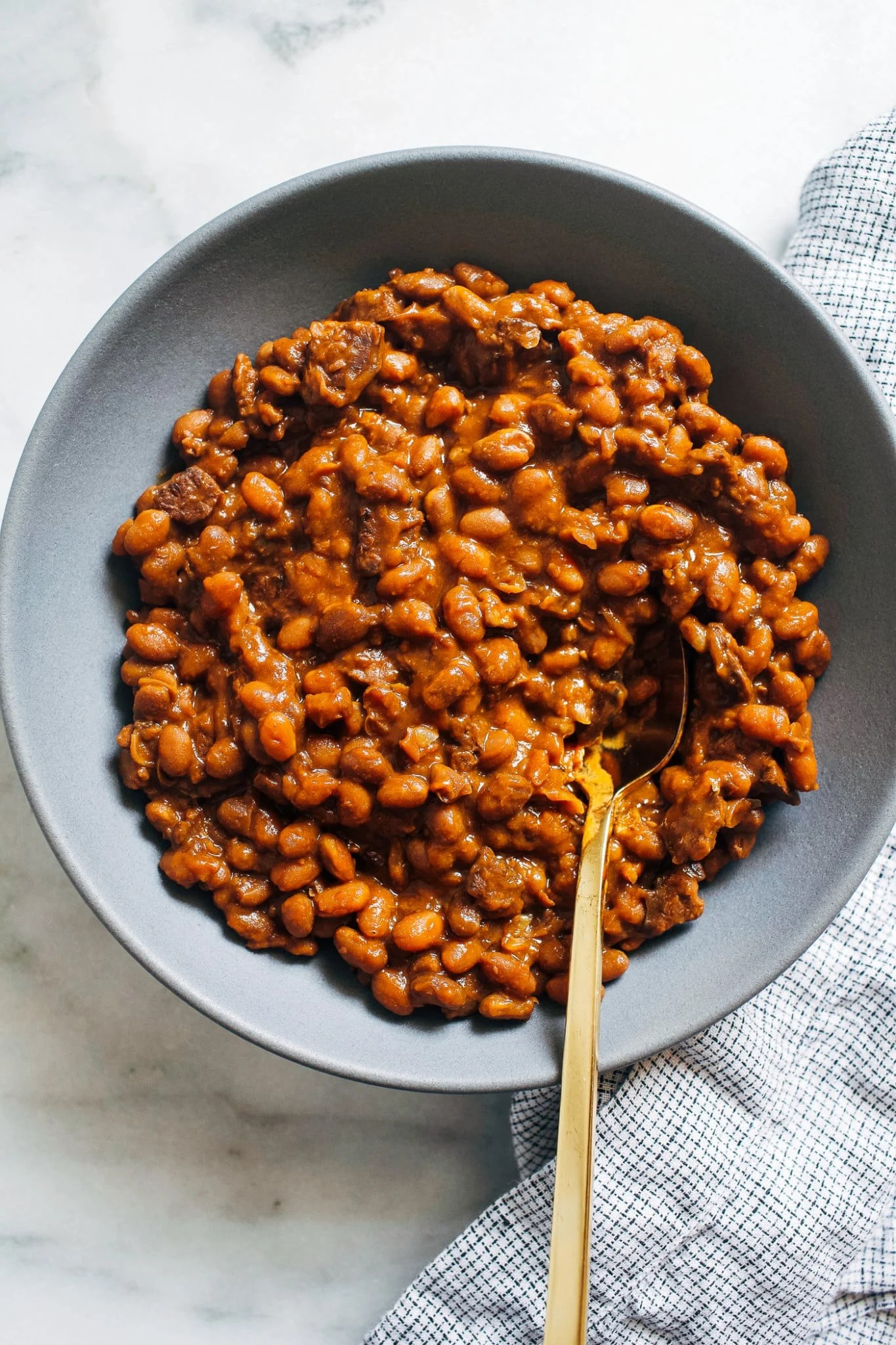 overhead view of a bowl of baked beans