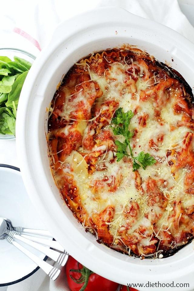 Slow Cooker Spinach and Feta Crock Pot Lasagna Primavera Kitchen Recipe