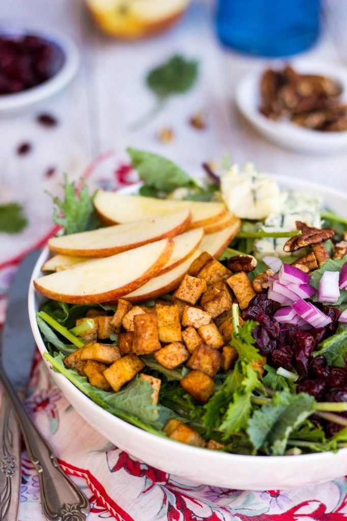 A bowl of blue cheese apple pecan cranberry salad tofu.
