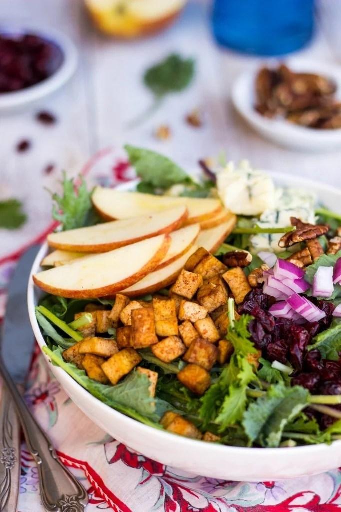 blue cheese apple pecan cranberry salad tofu 50 Healthy Salad Recipes Primavera Kitchen