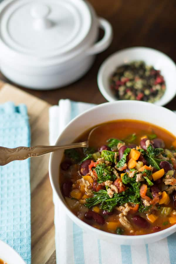 extra-lean turkey chill with kale primavera kitchen recipe