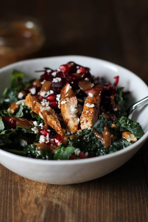 chili chicken kale salad with cinnamon dijon vinaigrette hero 50 Healthy Salad Recipes Primavera Kitchen