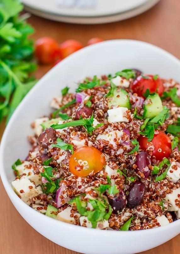greek chicken red quinoa salad 50 Healthy Salad Recipes Primavera Kitchen