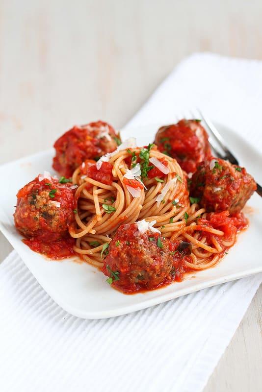 Slow Cooker healthy spaghetti meatballs Primavera Kitchen Recipe