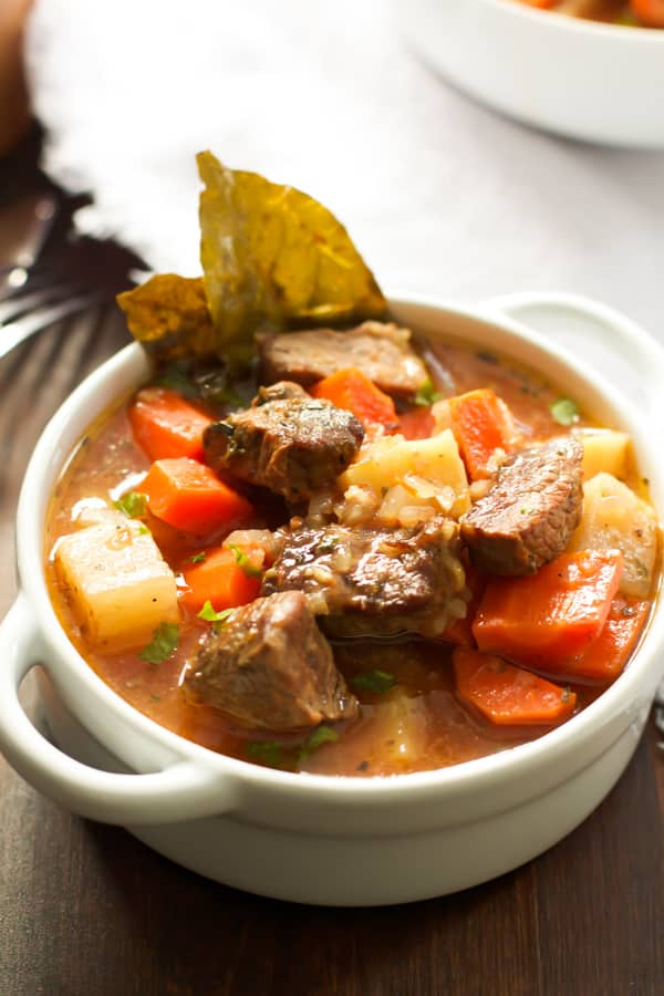 A bowl of healthier slow cooker beef stew.