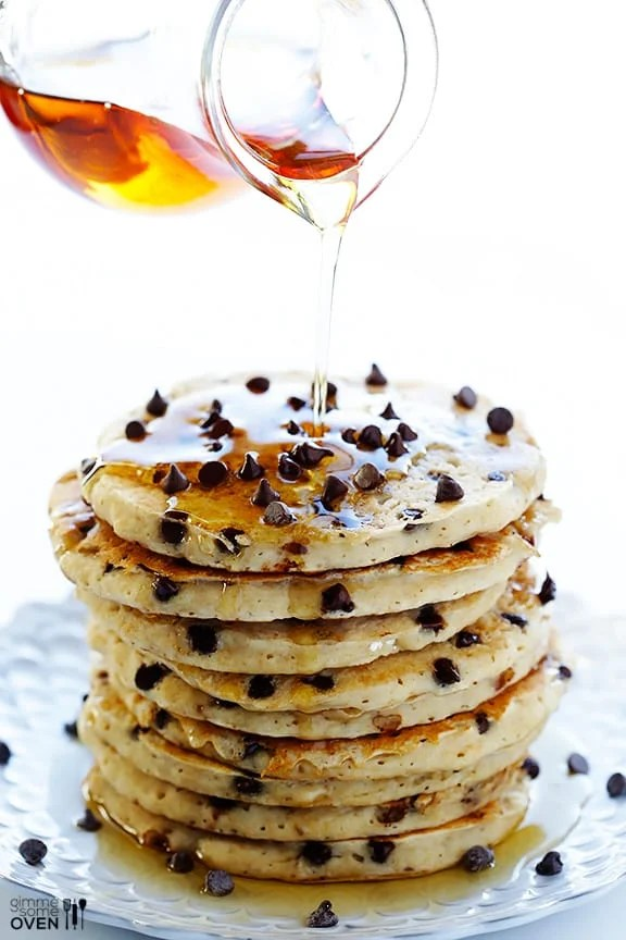 Guiltless Chocolate Chip Pancakes