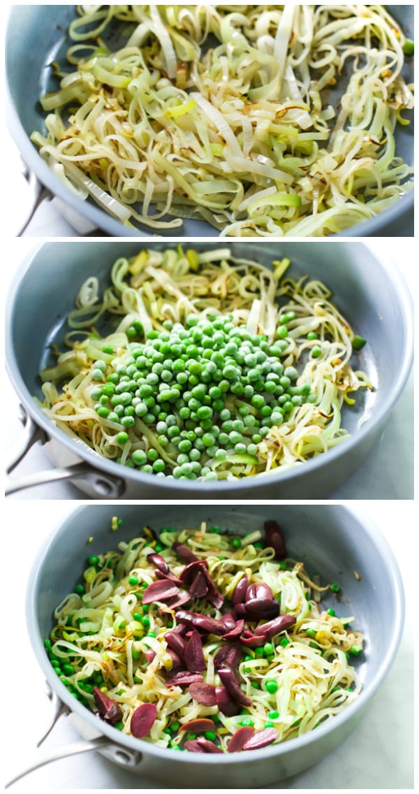A set of three photos showing how to saute the leeks, adding in the peas, and then adding in the olives.