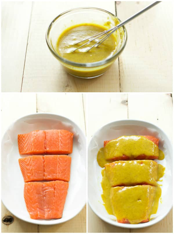 Step by step photos showing the maple mustard sauce being made then adding it into a casserole dish containing salmon.
